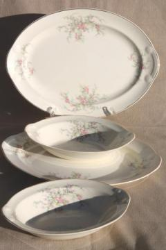 moss rose pink roses Taylor, Smith & Taylor china serving ware, shabby vintage chic