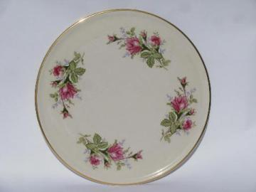 moss rose pink roses, vintage cake salver serving plate plateau, old USA pottery