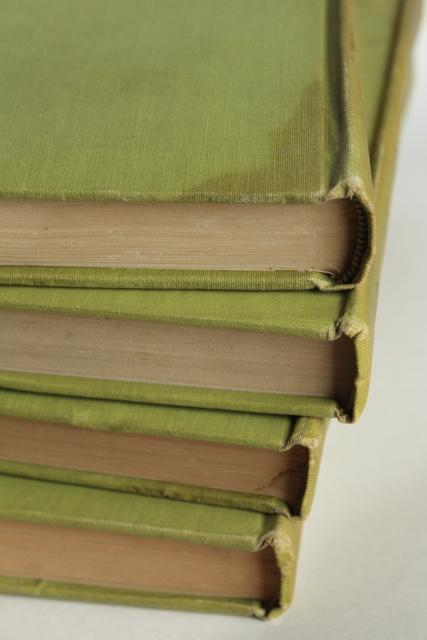 mossy green vintage books, French romances faded worn photo prop library display