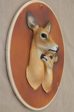 mother & baby fawn deer wall art, rustic vintage chalkware deer head wall plaque