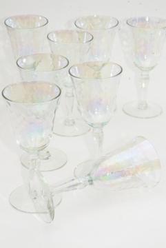 mother of pearl iridescent glass goblets, set of 8 vintage wine glasses