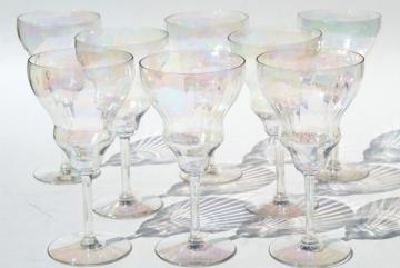 mother of pearl iridescent glass wine glasses, vintage tulip shape goblets