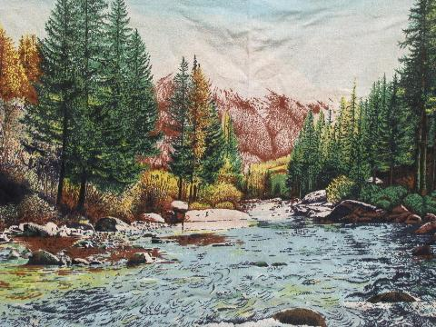 Mountain Brook Wilderness Scene Vintage Print Cotton Flannel Tapestry Wall Hanging