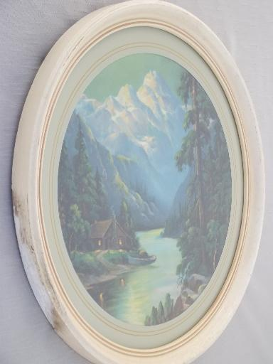 mountain cabin scene antique framed round print, R Atkinson Fox vintage
