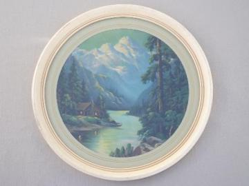 mountain cabin scene antique framed round print, R Atkinson Fox vintage