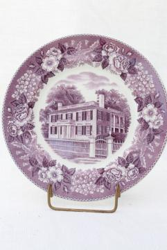 mulberry purple transferware china, vintage scenic souvenir plate Nashua New Hampshire