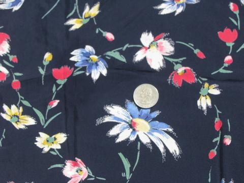 multi-colored daisy chain floral on navy blue, vintage rayon fabric