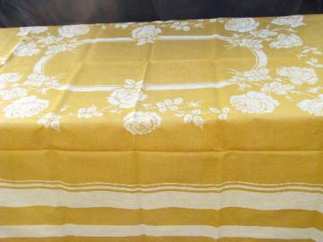 mustard gold french country style vintage pure linen damask tablecloth, never used
