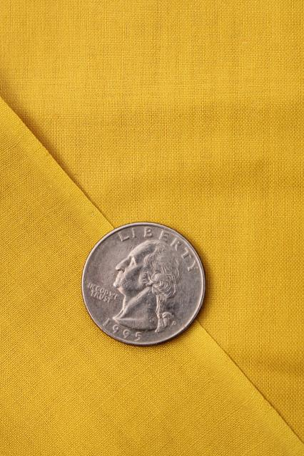 mustard gold solid color polished cotton chintz, 30s 40s vintage fabric 36 wide