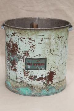 mystery piece large old solid copper pot w/ antique blue paint, vintage Nymph label
