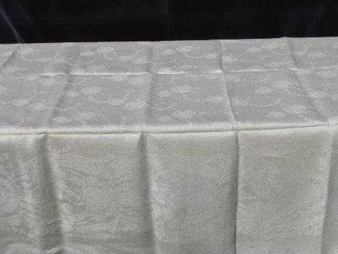 natural color old linen damask tablecloth, vintage early 1900s antique, never used