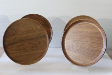natural hardwood charger plates or trays, handcrafted black walnut & butternut wood