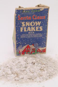 natural mica flakes glitter snow, vintage Christmas putz village craft decor in old box