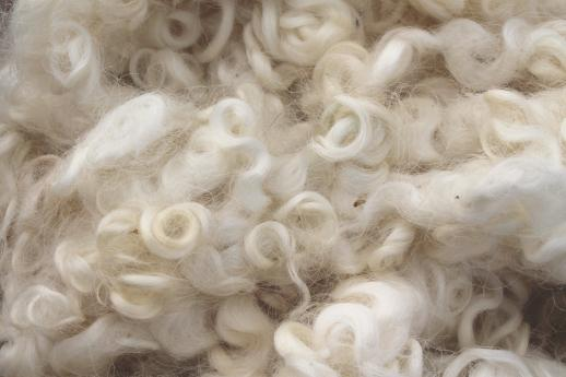 natural raw wool mohair locks or sheep's fleece for primitive Santas & doll hair