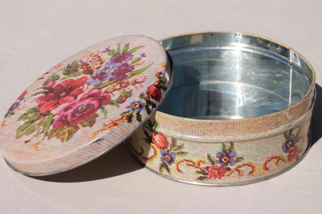 needlepoint print vintage candy tin sewing box, cottage granny chic storage canister