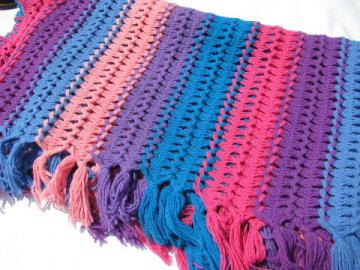 neon brights blue, pink, purple - retro vintage broomstick lace afghan