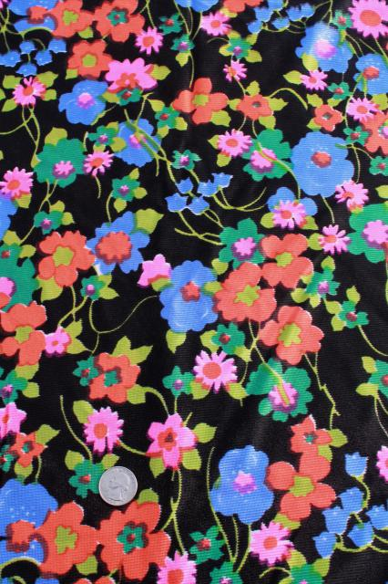 neon flowers on black vintage print polyester tricot fabric, retro dress / lingerie material