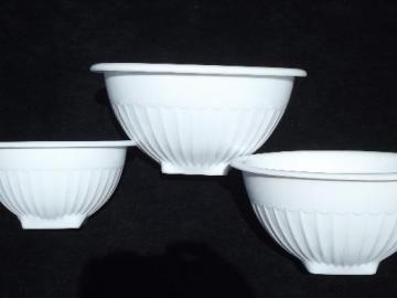 nesting Vitrock milk glass bowls, vintage mixing bowl set w/ original label