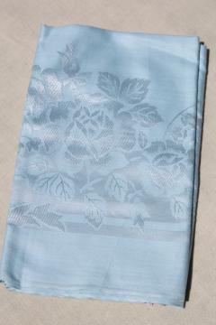 never used 1950s vintage rayon damask tablecloth, silky roses on pale blue