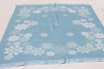 never used vintage acrylic blanket, reversible blue & white flowers & snowflakes