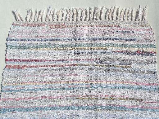 never used vintage cotton rag rug, primitive farmhouse rag rug