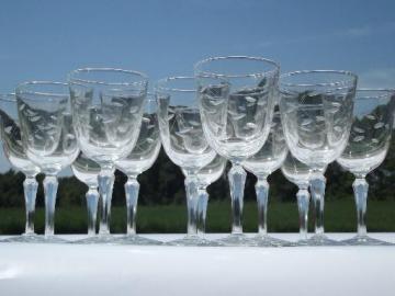 never used vintage set of 12 water glasses, Windswept Libbey goblets