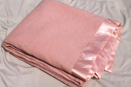 never used vintage wool blanket, moth-eaten but so soft! retro 50s pink blanket