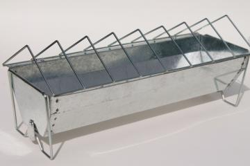 new farm store stock chick chicken feeder, galvanized zinc metal grain mash trough pan