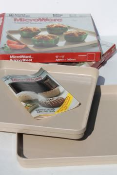 new in box vintage microwave cookware, Anchor Ovenware MicroWare plastic baking sheets