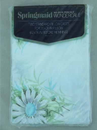 new in package vintage pillowcases, 70s retro green stripes, daisy print