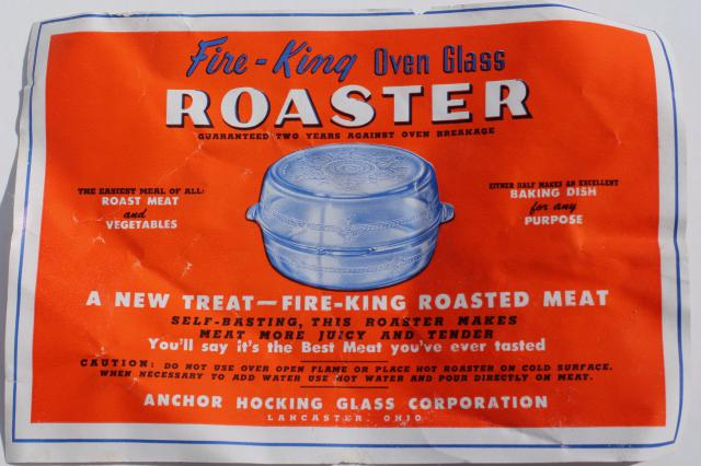 new w/ label vintage roaster Fire King sapphire blue depression glass roasting pan w/ cover