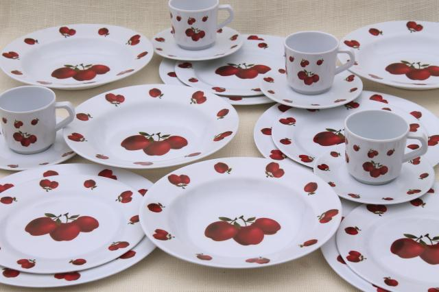 new melmac dinnerware w/ fall apples red apple print unbreakable melamine plastic dishes set & new melmac dinnerware w/ fall apples red apple print unbreakable ...