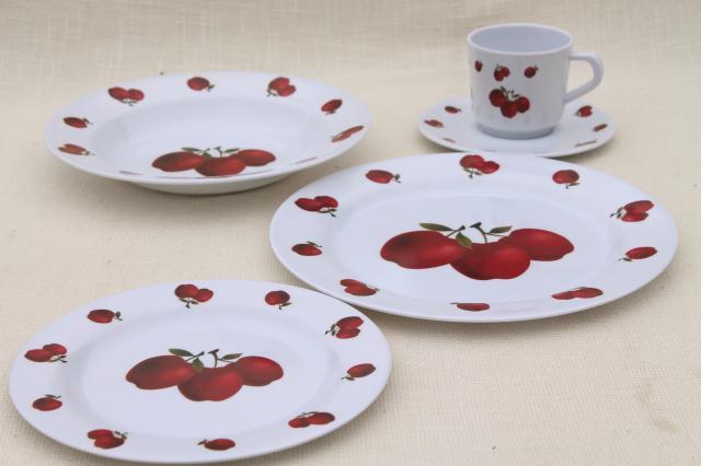 new melmac dinnerware w/ fall apples red apple print unbreakable melamine plastic dishes set & new melmac dinnerware w/ fall apples red apple print unbreakable ...