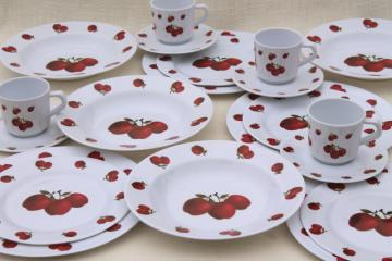 new melmac dinnerware w/ fall apples, red apple print unbreakable melamine plastic dishes set