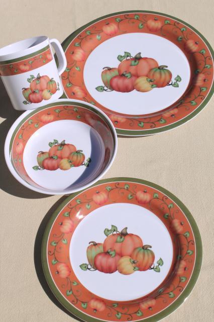 new melmac dinnerware w/ fall pumpkins unbreakable melamine plastic holiday dishes set & new melmac dinnerware w/ fall pumpkins unbreakable melamine plastic ...
