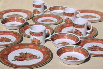 new melmac dinnerware w/ fall pumpkins, unbreakable melamine plastic holiday dishes set