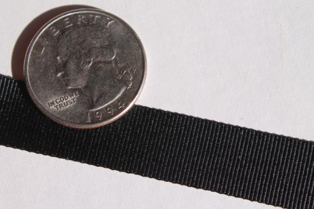 new old stock black grosgrain hat band ribbon, vintage millinery trim hat making supplies