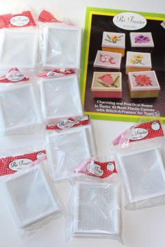 new old stock craft supplies destash, plastic canvas Stitch a Frame frames for pictures, coasters etc.