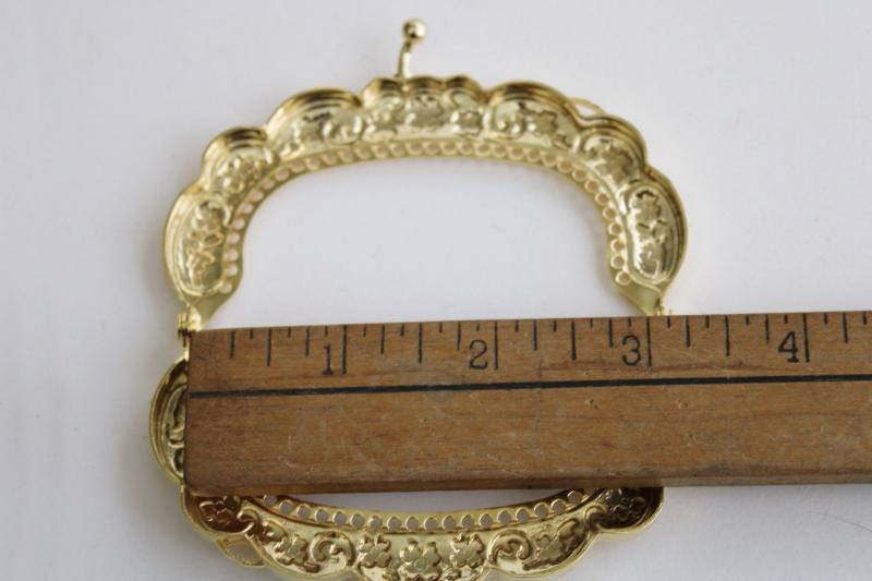 new old stock gold tone metal kiss lock clasp purse frames, DIY craft project supplies