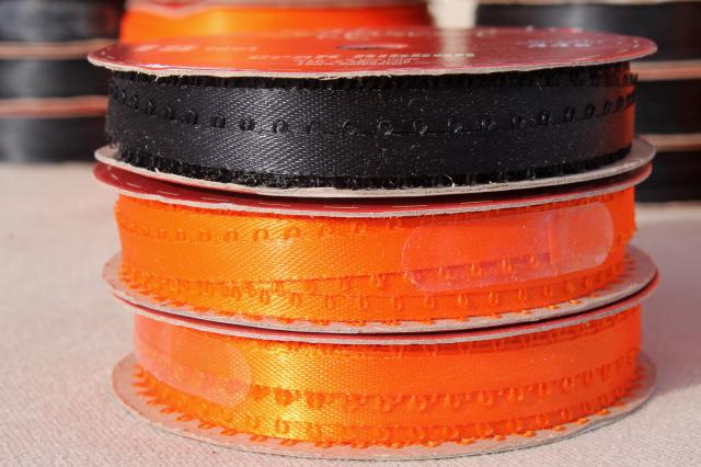 new old stock lot narrow woven edge satin baby ribbon, Halloween colors orange & black