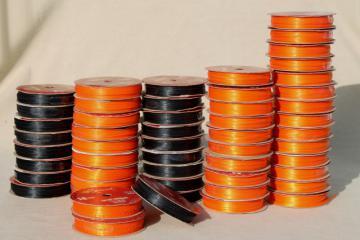 new old stock lot narrow woven edge satin baby ribbon, Halloween colors orange & black