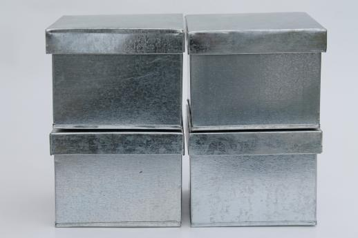 Genial New Old Stock Lot Of Tin Storage Boxes, Rustic Vintage Style Galvanized  Zinc Metal Tins