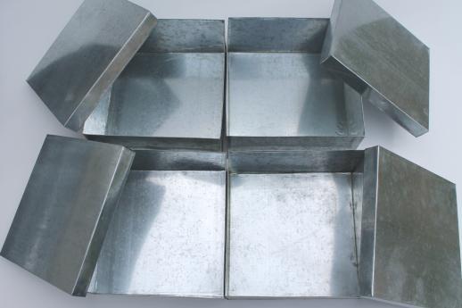 New Old Stock Lot Storage Box Tins, Rustic Vintage Style Galvanized Zinc  Metal Shoeboxes