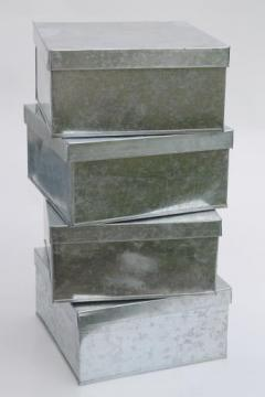 new old stock lot storage box tins, rustic vintage style galvanized zinc metal shoeboxes
