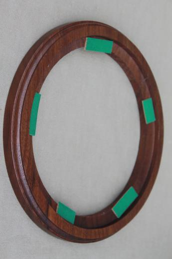 new old stock lot vintage wood frames for collector\'s plates, 7 1/2