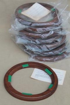 new old stock lot vintage wood frames for collector's plates, 7 1/2