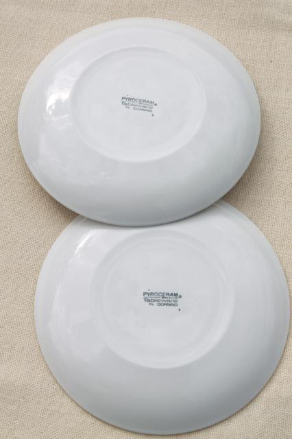 new old stock restaurant ware dishes, 12 Corning Pyroceram sandwich / bread plates