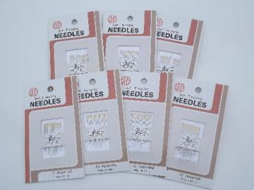 new old stock sewing notions lot self-threading needles sealed pkgs