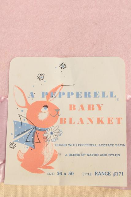 new old stock vintage baby blankets w/ original mid-century labels, cute graphics!