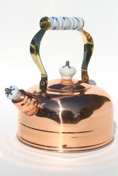 new old stock vintage copper tea kettle, shiny copper teapot w/ blue & white china handle